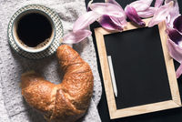 Chalkboard and breakfast with coffee