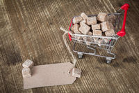 Shopping cart with sugar cubes and tag