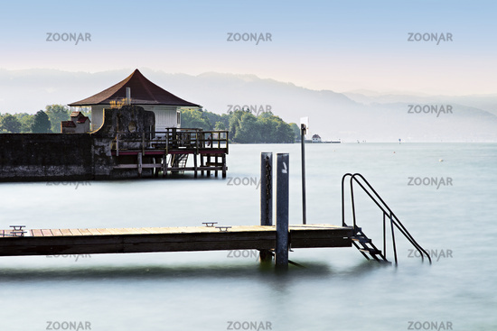 Bathhouse at Lake Constance, Wasserburg, Bavaria, Germany