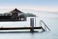 Bathhouse on Lake Constance, Wasserburg, Bavaria, Germany