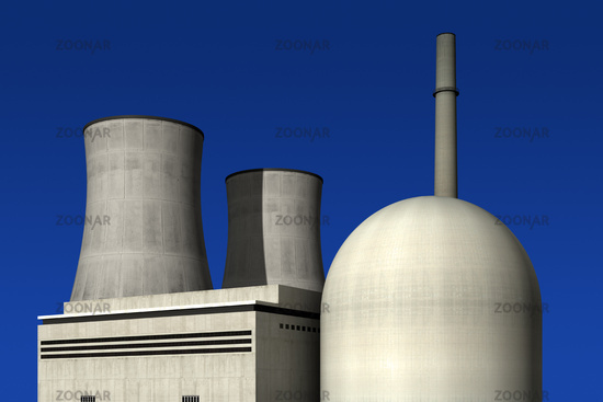 Nuclear power plant against a blue background