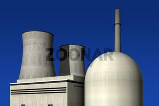 Atomkraftwerk vor blauem Hintergrund