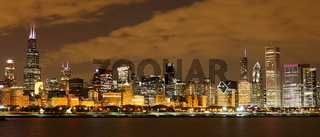 Chicago at night - Panoramic view