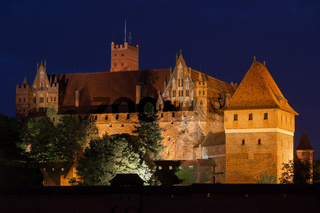High Castle of the Malbork Castle at Night