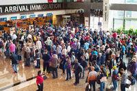 Queue at airport immigration