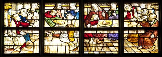 Window image Jesus with his disciples, Wiesenkirche, Soest, North Rhine-Westphalia, Germany, Europe