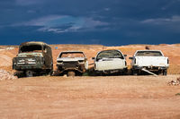 Wrecked cars in the desert, Coober Pedy, South Australia
