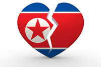 Broken white heart shape with North Korea flag