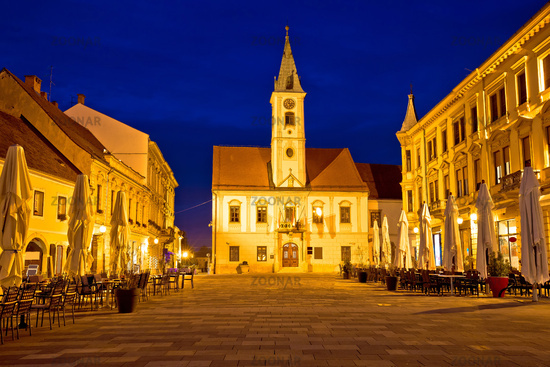 Varazdin baroque square evening view