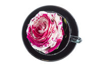 Black cup with rose flower