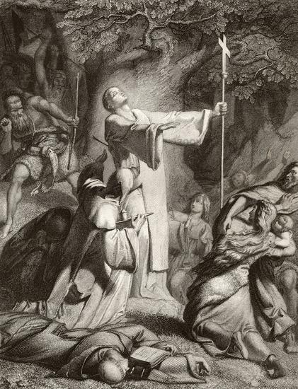 Saint Boniface being martyred in 754, Dokkum, Frisia, Germania,