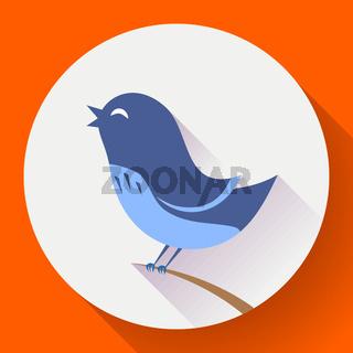 Bird singing vector icon. Flat design style
