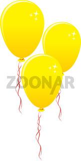 Three gold balloons