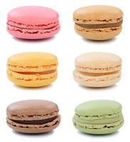 Macarons Macaroons Kekse Sammlung Nachtisch Dessert aus Frankreich Freisteller