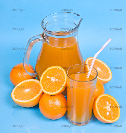 flagon and glass with juice