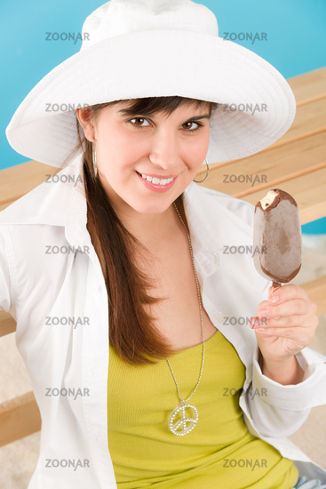 Summer - woman teenager enjoy ice lolly