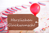 Party Label, Balloon, Herzlichen Glueckwunsch Means Congratulations