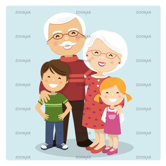 Happy grandparents with grandchildren on blue background