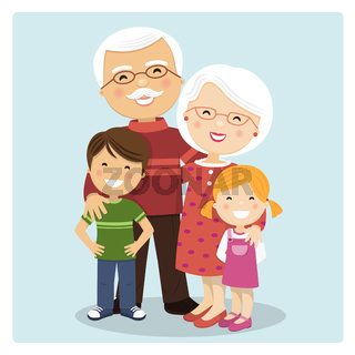 Happy grandparents with grandchildren on blue background