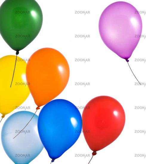 Rainbow balloons on white background