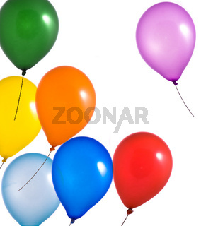 Rainbow balloons on white background