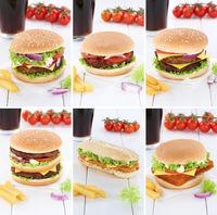 Hamburger Sammlung Collage Cheeseburger Cola Getränk