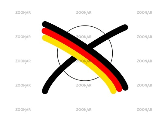 Bundestag election with cross in German colors
