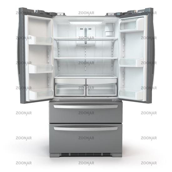 Open fridge freezer. Side by side stainless steel srefrigerator  isolated on white background.