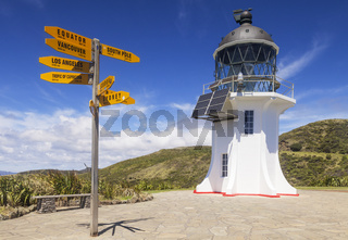 Cape Reinga Lighthouse and world sign post