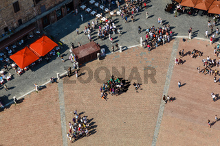 Aerial View on Piazza del Campo, Central Square of Siena, Tuscany, Italy