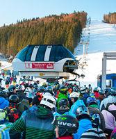 Crowded ski resort, Bukovel