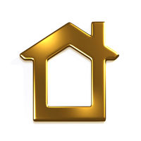 Gold House Real Estate. 3D Render Graphic Illustration
