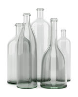 five empty bottles isolated on white background