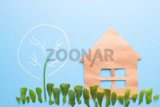 farm house with trees and crop