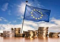 European flag with euro coins