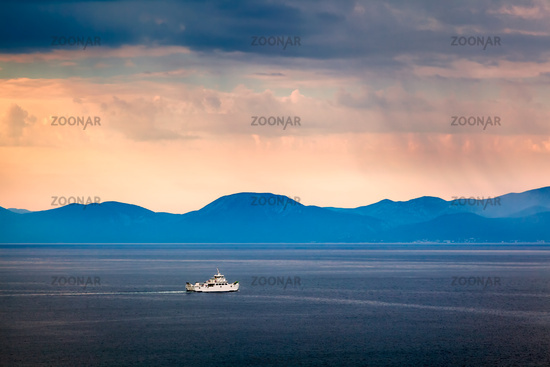 Boat Passing Island of Brac in the Rainy Morning, Croatia