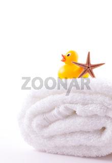 Handtuch und Badeente