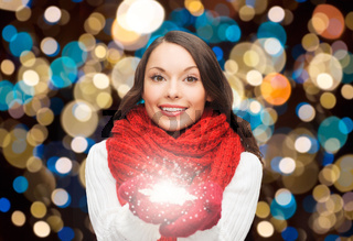 woman in scarf with christmas magic snowflake