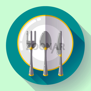 Dishes - Plate knife and fork icon. Flat vector design with long shadow