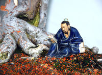 Picture of a bonsai tree with a small statue besides it