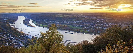 view from Drachenfels to river Rhine at sunset, Koenigswinter, North Rhine-Westphalia, Germany