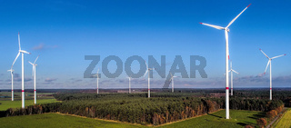 Wind farm in the Heide, aerial view with a bright blue sky, near Uelzen, Germany
