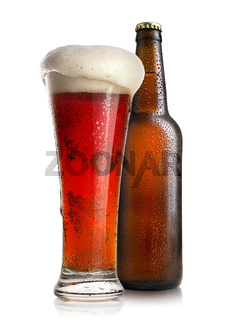 Red beer and bottle