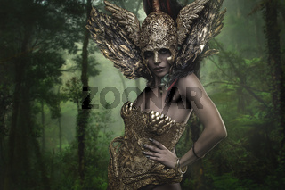 Magical, Deity, beautiful woman with green hair in golden goddess armor. Fantasy warrior