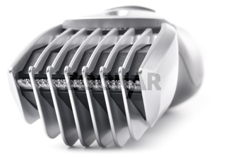 close-up of a modern hair clipper isolated on white