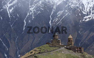 Tsminda Sameba monastery, Kazbegi, Georgian Military Highway, Georgia