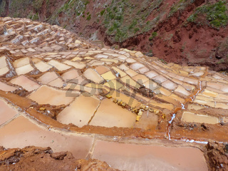 Salinas de Maras - salt evaporation ponds near town of Maras in Peru