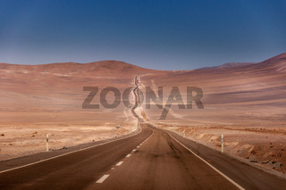 Road leading into the Atacama desert in Chile