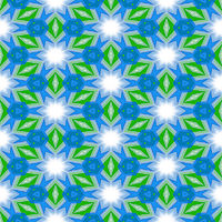 seamless abstracted texture with white stars and green leaves on blue