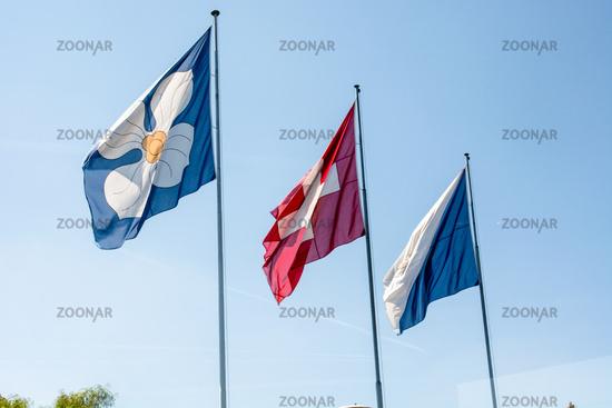 Flags of Zurich and Switzerland
